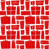 Christmas gifts. Seamless pattern with present boxes in cartoon flat style. Vector illustration. Christmas gifts. Seamless pattern with red present boxes in Stock Photography