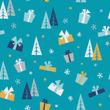 Christmas gifts - seamless pattern. Vector seamless pattern with christmas gift boxes and fir trees stock illustration