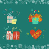 Christmas gifts set of four gifts Stock Photos