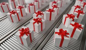 Christmas gifts shipping. Many gifts on conveyor. 3D rendered illustration. royalty free illustration