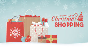 Christmas gifts and shopping bags Stock Images
