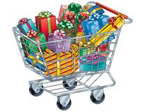 Christmas Gifts in Shopping Cart Stock Photo