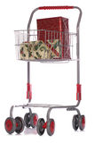 Christmas gifts in shopping trolley Royalty Free Stock Photography