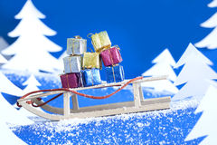Christmas gifts on the sled Royalty Free Stock Images