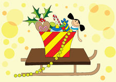 Christmas gifts on sledge. Illustration of cute christmas gifts on sledge, art Royalty Free Stock Image