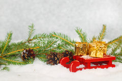 Christmas gifts on sledge Stock Images