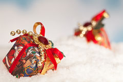 Christmas gifts in the snow Royalty Free Stock Image