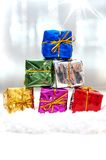 Christmas gifts in snow Royalty Free Stock Images