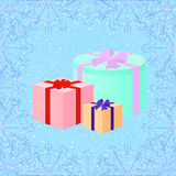 Christmas gifts on the snow background in retro style, vector il. Three Christmas gift boxes on the snow background. Decorative frame with snowflakes pattern Royalty Free Stock Image