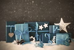 Christmas Gifts, Snow, Copy Space,Snowflakes, Filter Stock Images