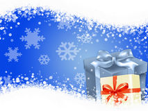 Christmas Gifts. Snowflake background with Christmas Gifts Stock Photo
