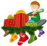 Christmas gifts with sock. Vector christmas gifts with sock and christmas tree decorations Stock Image