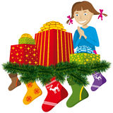 Christmas gifts with sock Royalty Free Stock Images