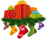 Christmas gifts with sock. Vector christmas gifts with sock and christmas tree decorations Royalty Free Stock Photo