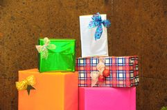Christmas Gifts. Some Christmas Gifts Presents with Typical Paper Royalty Free Stock Image