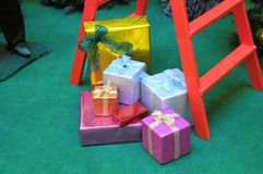 Christmas Gifts. Some Christmas Gifts Presents with Typical Paper royalty free stock photos