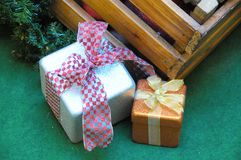 Christmas Gifts. Some Christmas Gifts Presents with Typical Paper royalty free stock photography