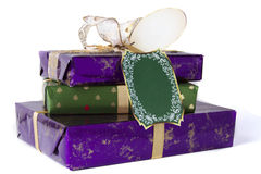 Christmas gifts in a stack with bow Stock Image