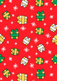 Christmas gifts and stars. Vector illustration of gifts and snowflakes in a repeat pattern Royalty Free Stock Image