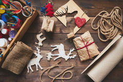 Christmas gifts and symbols Royalty Free Stock Photography