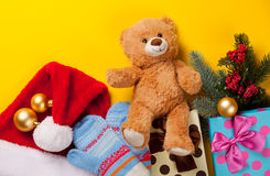 Christmas gifts and teddy bear Stock Images