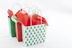 Christmas Gifts. Three Christmas Gifts on a White Background Stock Photos