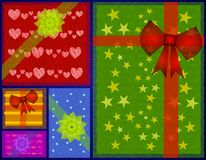 Christmas Gifts Tiled Background. A background illustration featuring a collection of Christmas gifts with rustic texture decorated in various wrapping papers Royalty Free Stock Photos