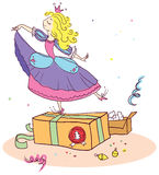 Christmas gifts to the little princess. Royalty Free Stock Image