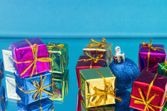 Christmas gifts and toys on a blue Royalty Free Stock Photo