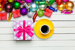 Christmas gifts toys and cup Royalty Free Stock Photography