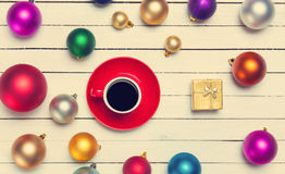 Christmas gifts toys and cup Stock Photo