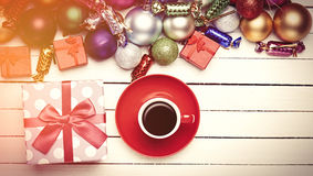 Christmas gifts toys and cup of coffee . Stock Image