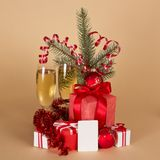 Christmas gifts, toys, fir-tree branch Royalty Free Stock Photography