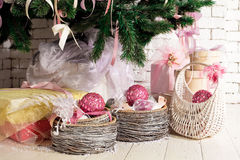 Christmas gifts under the fir tree. Nice christmas gifts under the fir tree Royalty Free Stock Photo