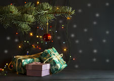 Christmas gifts under a pine tree Stock Images