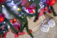 Christmas gifts under the Christmas tree Royalty Free Stock Photography