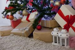 Christmas gifts under the Christmas tree Stock Image