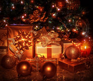 Christmas gifts under tree Royalty Free Stock Image
