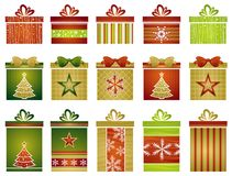 Christmas gifts, vector. Fifteen color christmas gifts , vector illustration Stock Photography