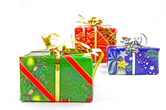 Christmas gifts. On white background Royalty Free Stock Images