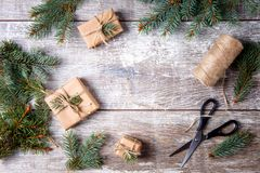 Christmas gifts on a wooden background. View from above. stock photography