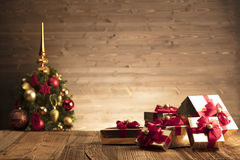 Christmas gifts. On wooden table royalty free stock photography