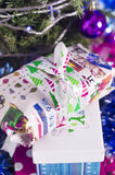Christmas gifts and the words Merry Christmas Stock Image