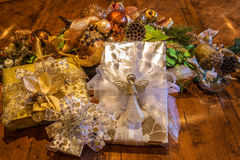 Christmas Gifts wrapped in an elegant setting Royalty Free Stock Image