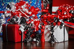 Christmas Gifts wrapped in wonderful coloured paper royalty free stock photography