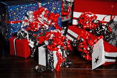 Christmas Gifts wrapped in wonderful coloured paper stock photography