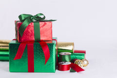 Christmas gifts and wrapping paper Royalty Free Stock Images
