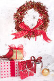 Christmas gifts, wreath, ornaments Royalty Free Stock Photo