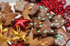 Christmas ginger biscuit. On the plate Royalty Free Stock Images