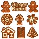 Christmas ginger bread cookie colorful bright set. New year sweet food theme flat vector illustration for sticker, badge, sign stamp, logo, banner, icon, label vector illustration